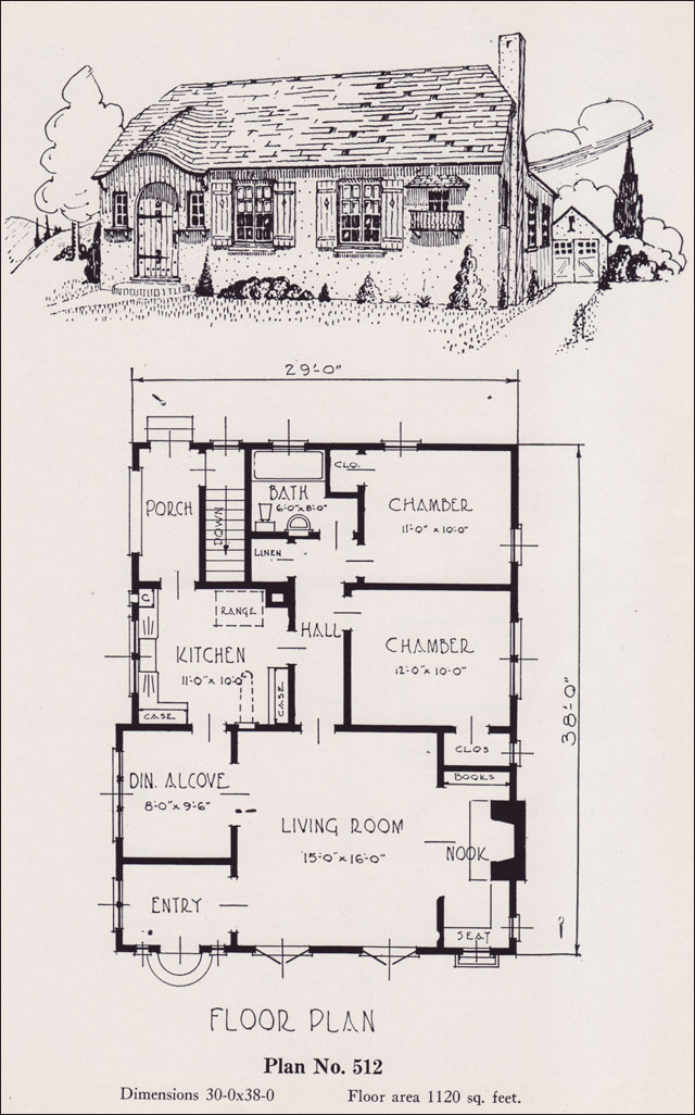 1926 universal plan service - no. 512 - clipped gable storybook
