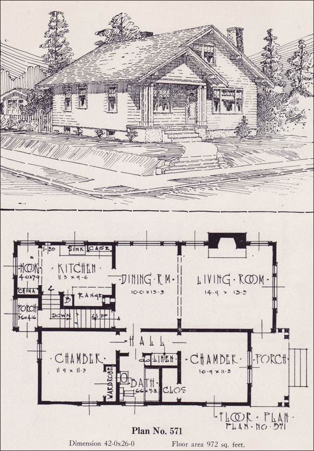 1926 universal plan service no 571 classic bungalow for Classic cottage house plans