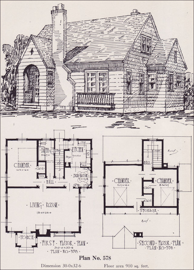 1926 universal plan service no 578 modern english for Old english cottage house plans