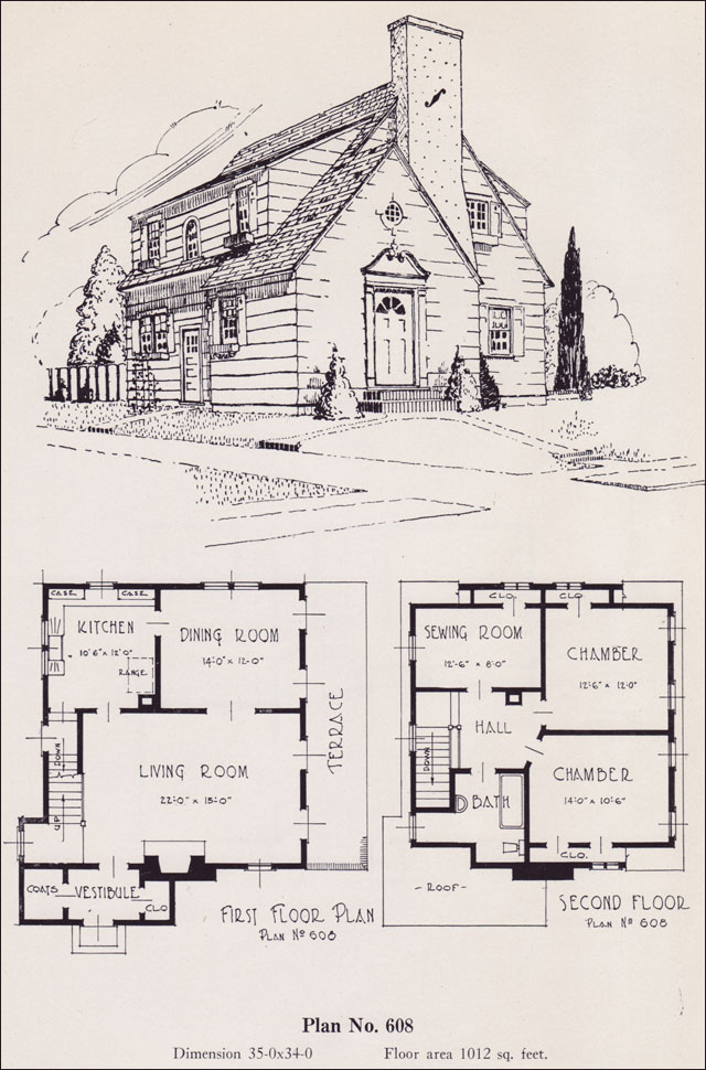 Modernize colonial 1926 universal plan service no 608 Universal house plans