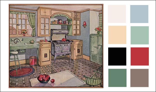Vintage kitchen color scheme 1920s 1928 blue corn for Bathroom ideas 1920s home