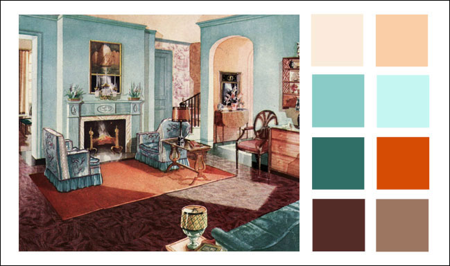 1929 Armstrong Living Room - Turquoise - Orange - Color scheme ...