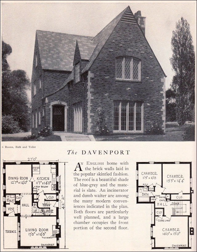 1929 home builders catalog davenport - Brick English Home Plans