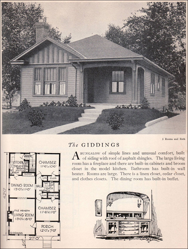 1929 Home Builders Catalog Giddings House Plan American – Craftsman Bungalow House Plans 1930S