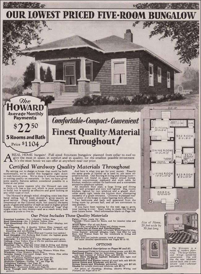 1930 Howard Tiny Hipped Roof Bungalow Kit House