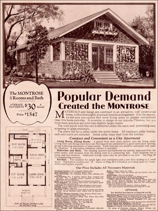 1930 simple bungalow wardway kit homes montrose by for 1930s house plans