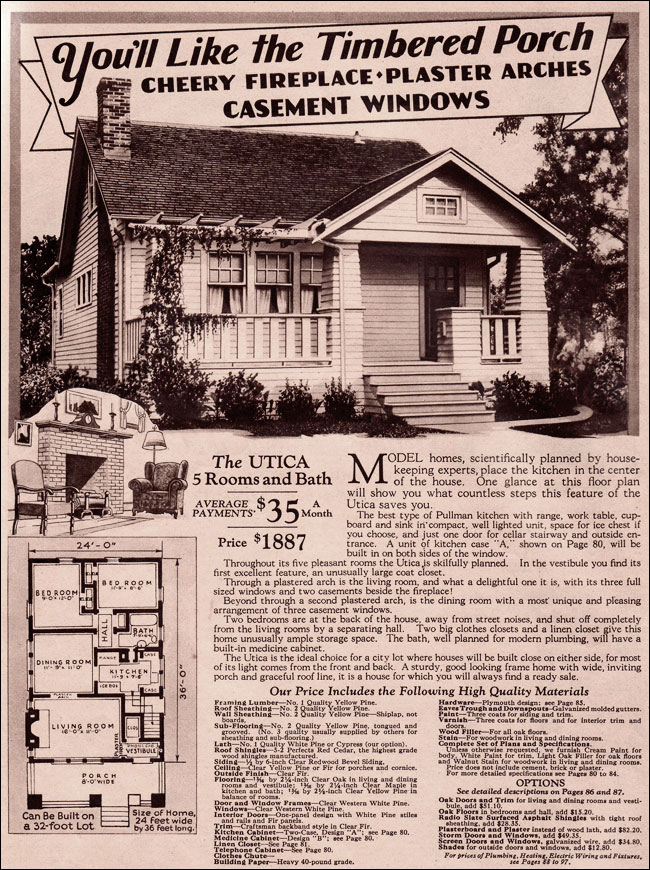 Montgomery Ward 1930 Modern Bungalow Utica Home Design Craftsman House Plans