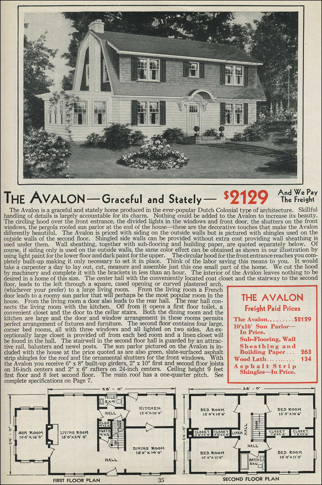 Dutch Colonial Gambrel Roof 1931 Aladdin Avalon Kit House