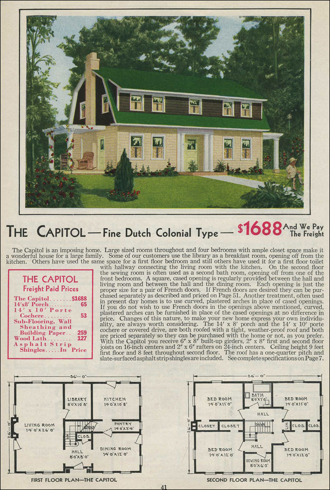 Dutch colonial revival 1931 aladdin homes gambrel roof for Dutch revival house plans