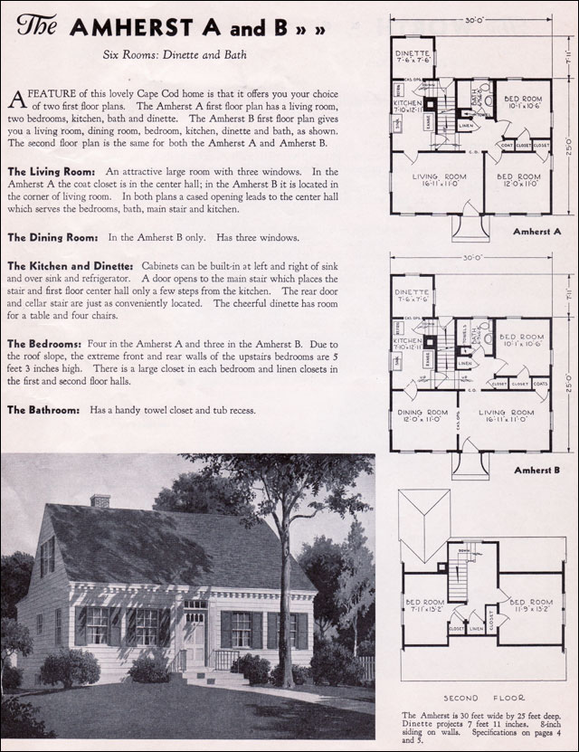 1935 gordon tine homes the amherst cape cod small houses