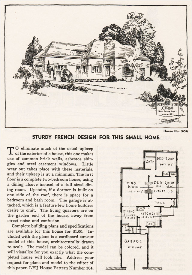 1935 French Eclectic Ladies Home Journal Small House Plans