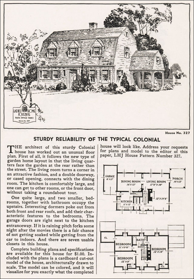 1935 Dutch Colonial Revival House Plan Ladies Home Journal