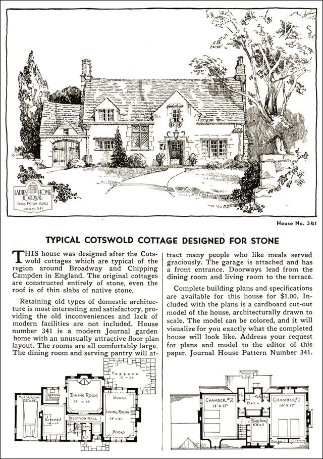 1935 English Cotswold Style Cottage Ladies Home Journal