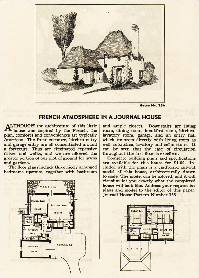 1935 french eclectic house plan - ladies home journal - french