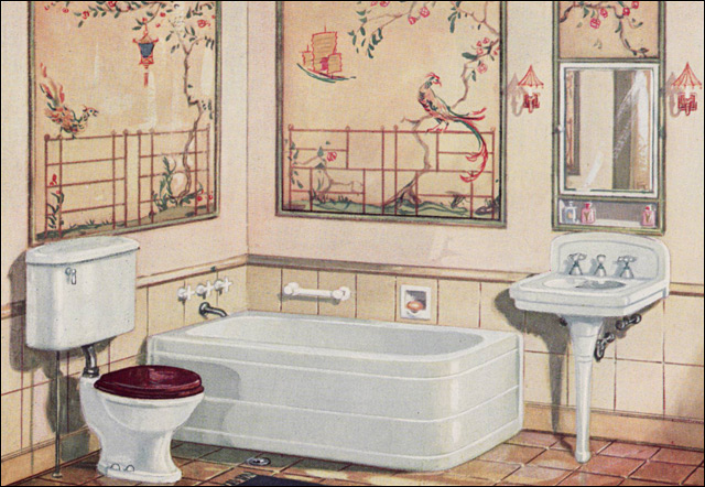 1926 Crane Plumbing Fixtures 1920s Bathroom Asian Theme