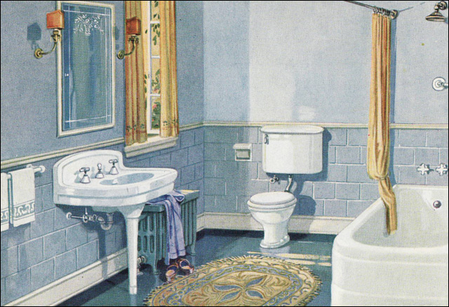 1926 Blue U0026 Gold Scheme Bathroom
