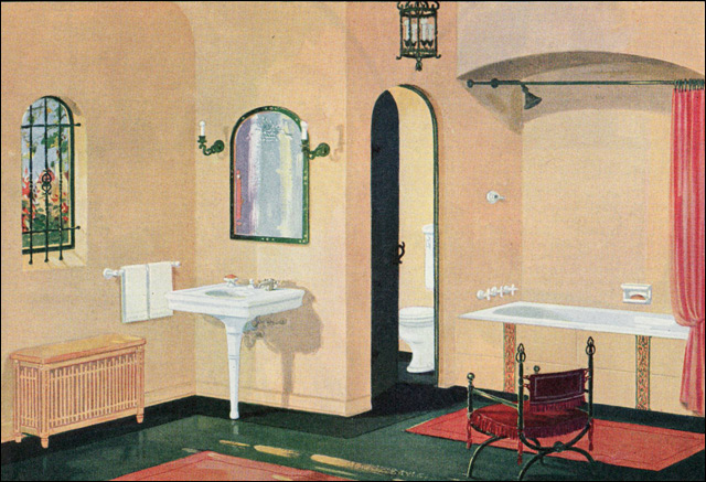 1926 crane plumbing fixtures spanish revival bathroom for Bathroom ideas 1920s home