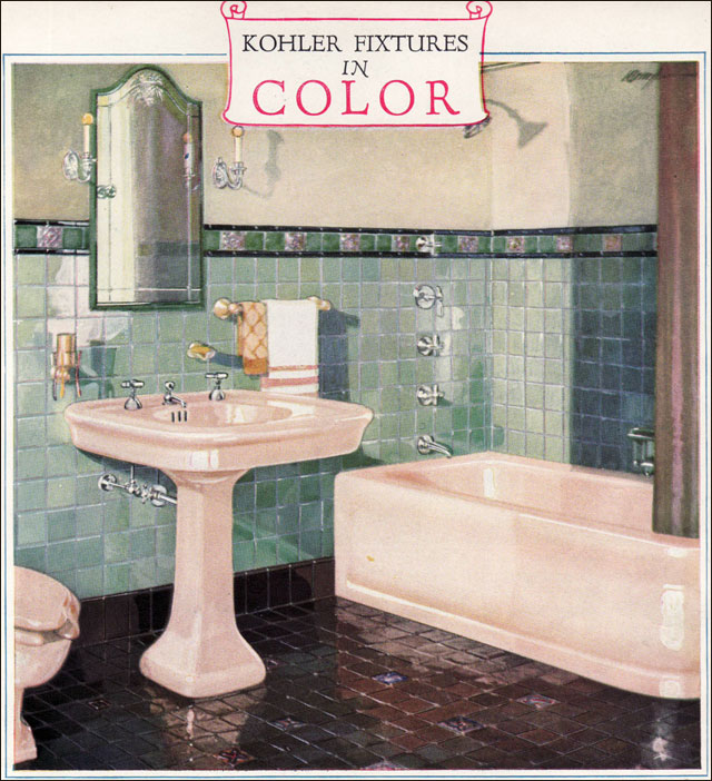 1928 Kohler Bathroom Plumbing Fixtures Ivory Green