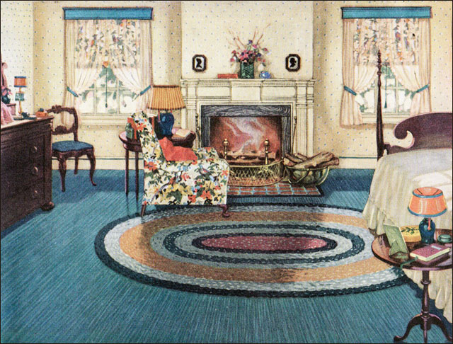 1926 Armstrong Blue Yellow Bedroom 1920s Design