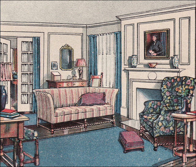1916 modern colonial living room the attractive home for Interior design styles 20th century