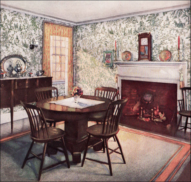 1926 traditional dining room colonial interior style of for 90s wallpaper home