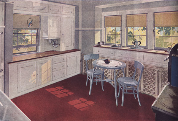 1920s kitchen gallery - kitchen flooring, cabinetry, nooks, and