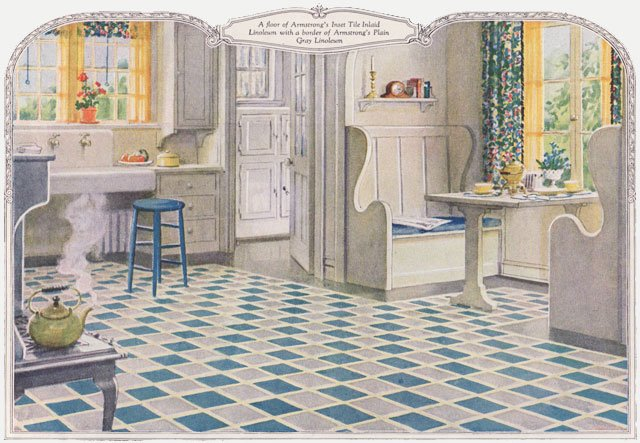 1924 armstrong linoleum ad - 1920s kitchen design inspiration