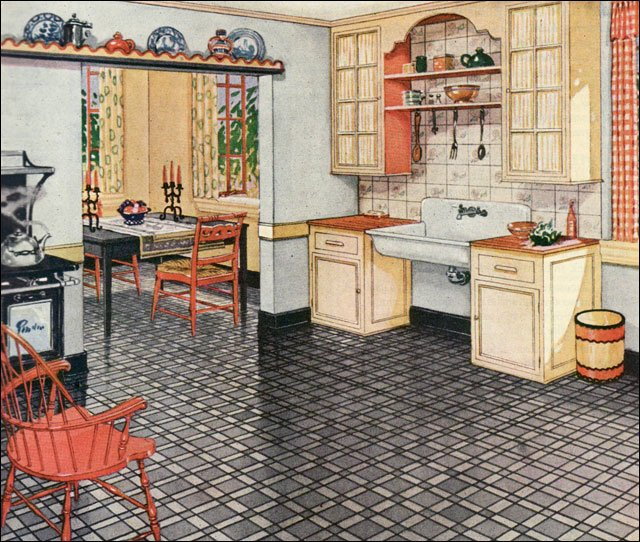 1926 Blabon Linoleum Ad Art Linoleum By The George W