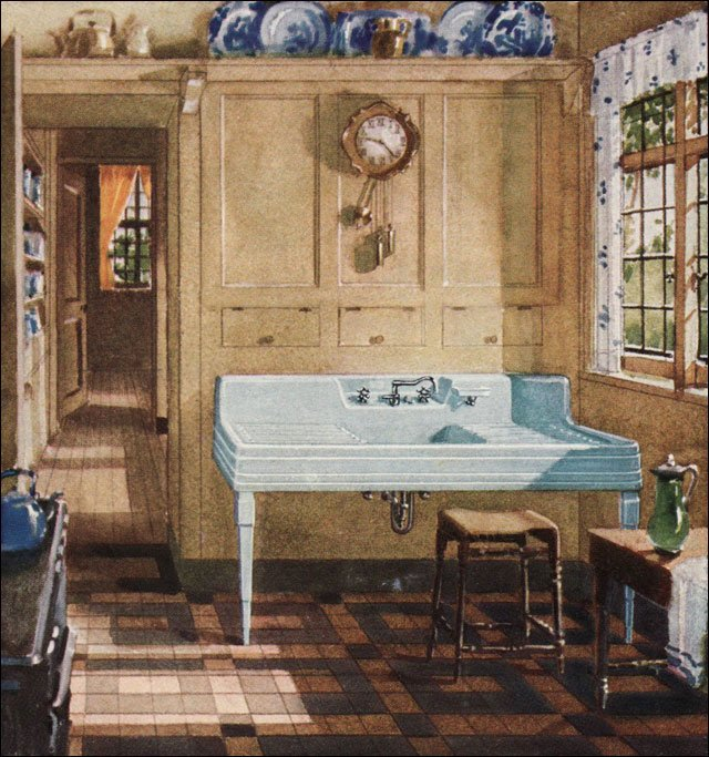1929 crane plumbing ad kitchen inspiration from the for 1920 kitchen cabinets