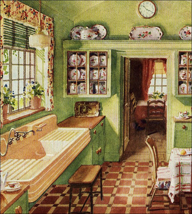 1929 folk style kitchen crane ad for corwith sink for Bathroom ideas 1920s home