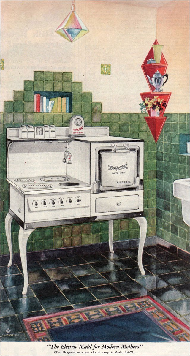1929 hotpoint range ad vintage kitchen inspiration from for 1920 kitchen floor tile