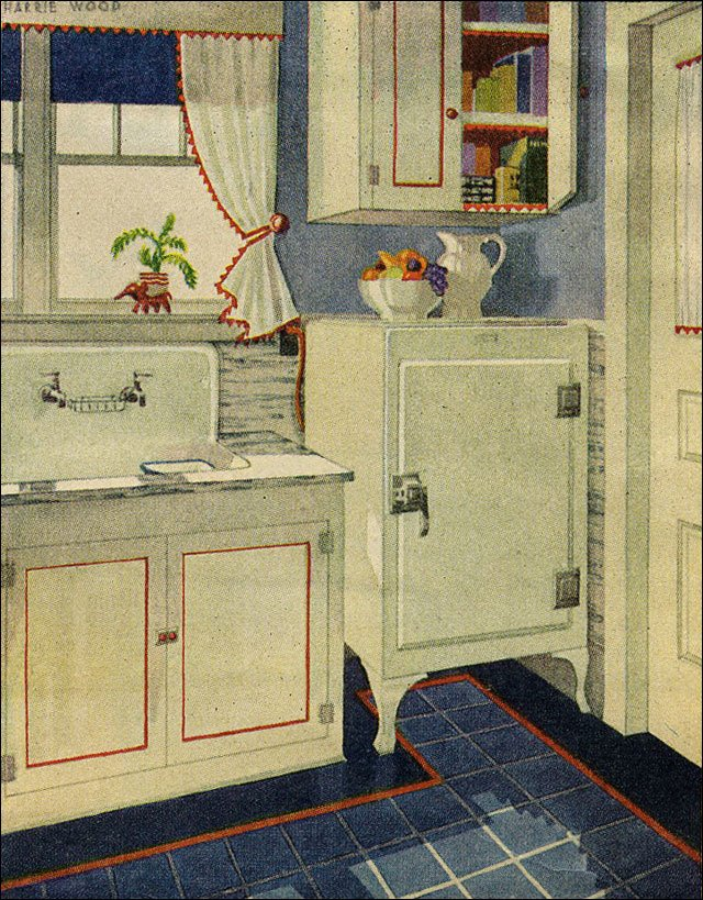 Red white and blue vintage 1920s kitchen design for 1920s kitchen remodel