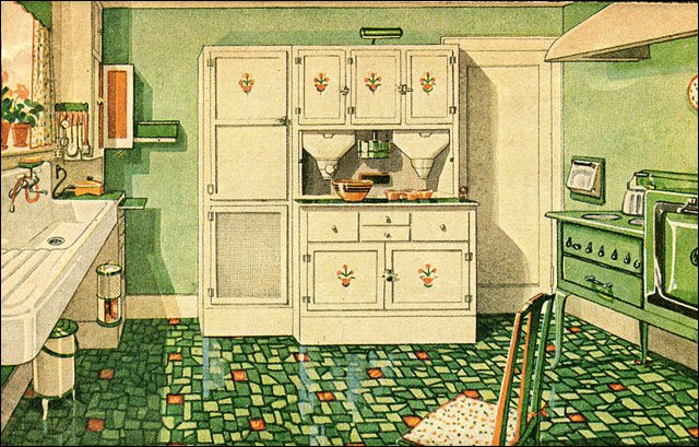1929 green and white kitchen with built in cabinetry for Kitchen ideas for 1920s house