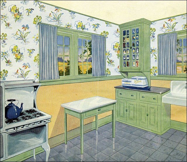 Late 1920s Kitchen In Green, Yellow, And Blue