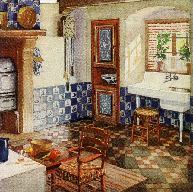 1929 Kitchen With Blue Delft Tile 1920s European