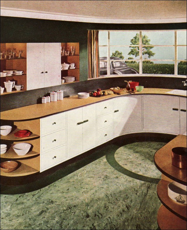 1937 sealex linoleum ad for a modern kitchen vintage for Modern kitchen in 1930s house