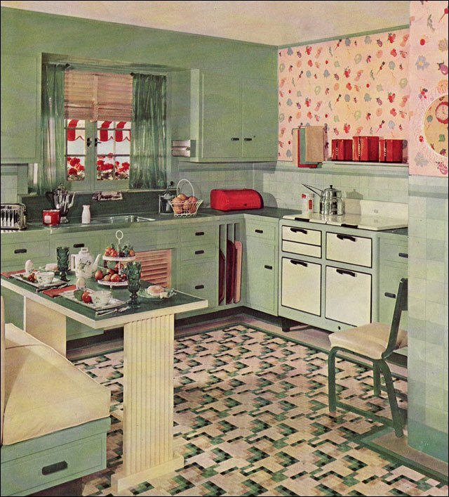 1935 cute vintage kitchen by armstrong linoleum eat in for Modern kitchen in 1930s house