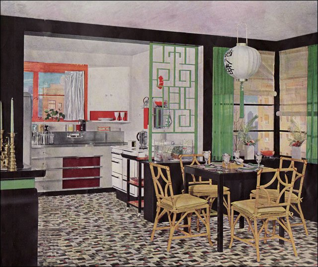 1935 asian style kitchen designarmstrong linoleum - vintage