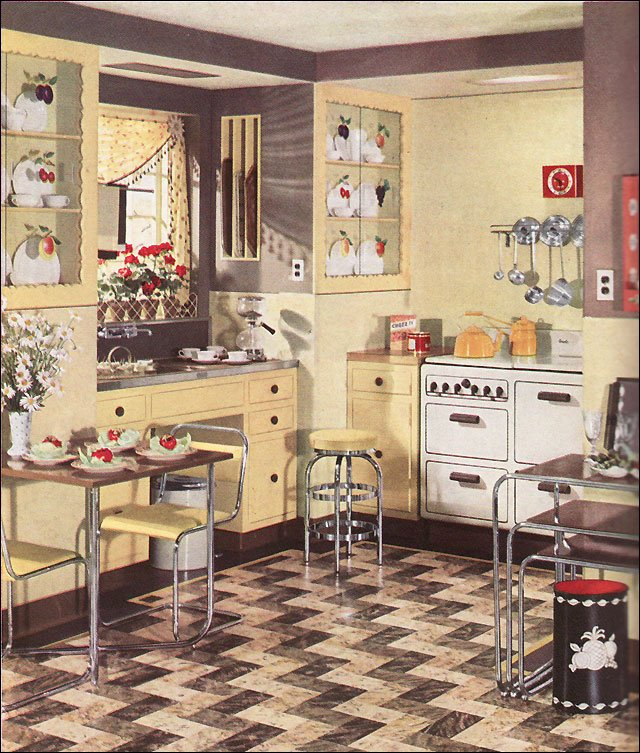 1936 armstrong linoleum flooring ad for a modern yellow kitchen vintage design inspiration - Retro flooring kitchen ...
