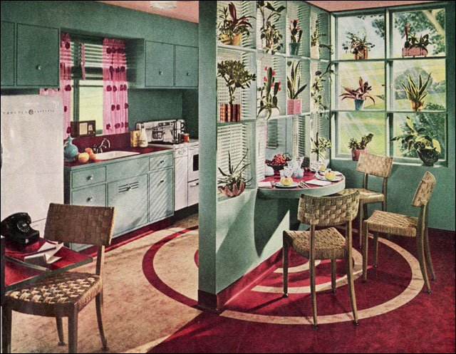 1936 vintage kitchen inspiration by armstrong linoleum for Modern kitchen in 1930s house