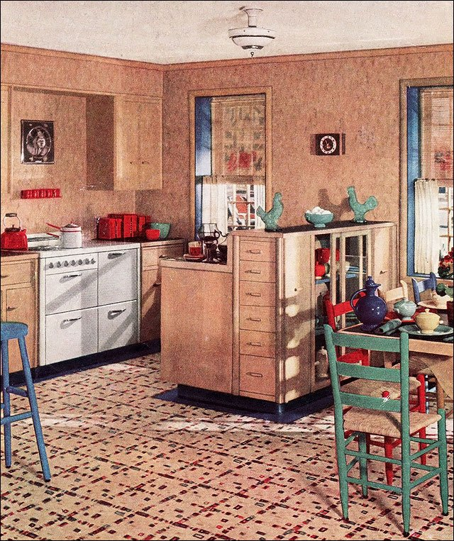 1936 armstrong linoleum kitchen ad design inspiration for Modern kitchen in 1930s house