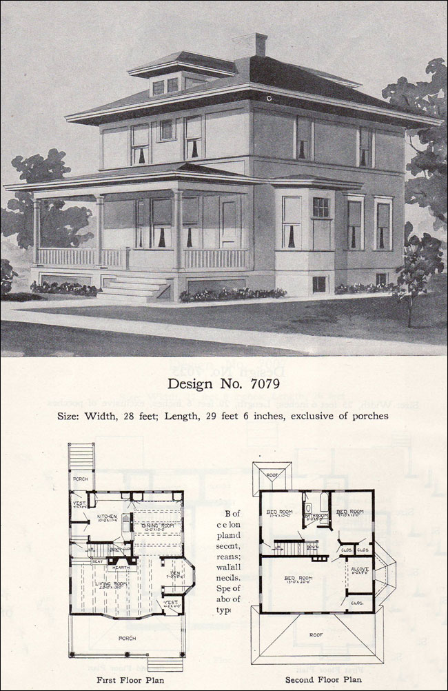 Prairie box american foursquare 1908 radford plan no 7079 for Foursquare home plans