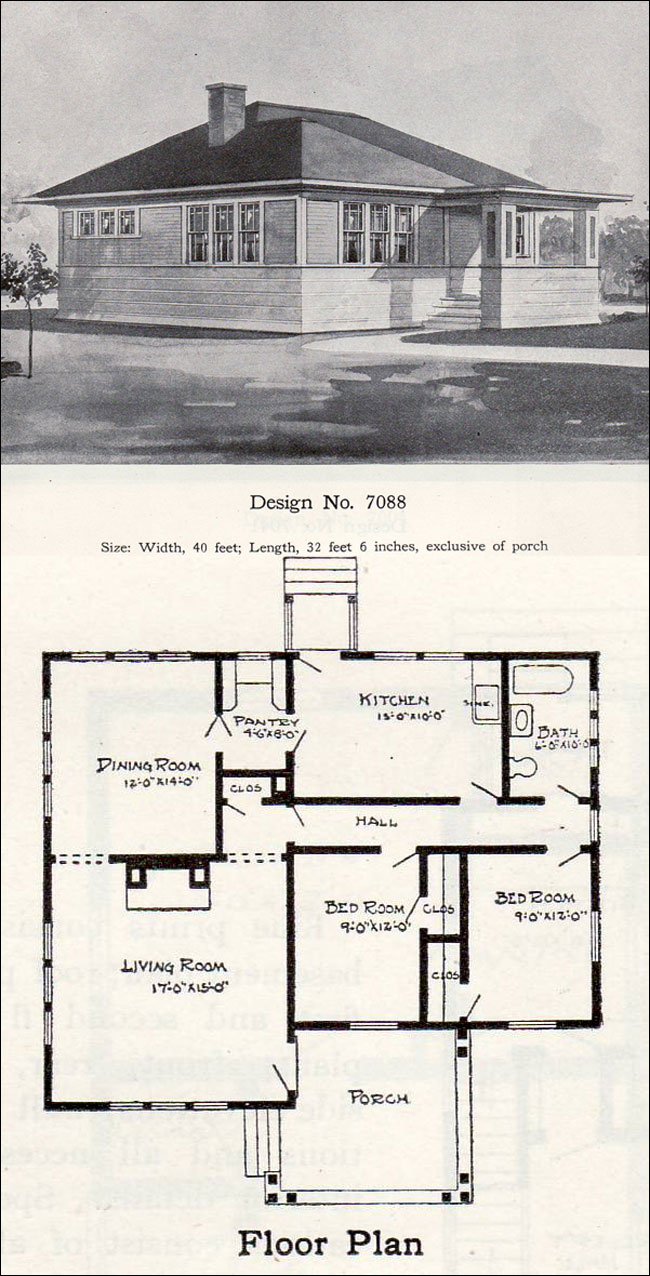 Tiny prairie style bungalow 1908 william a radford for Prairie school house plans