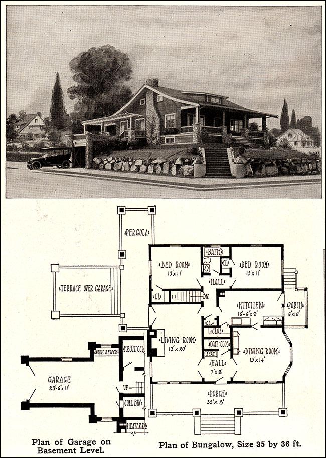 1915 Cozy Bungalow Vintage Plan With Garage Wm A Radford Original Design