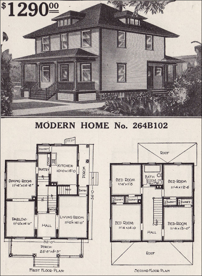 1916 sears house plans modern home 264b102 prairie box for Four square house plans with garage