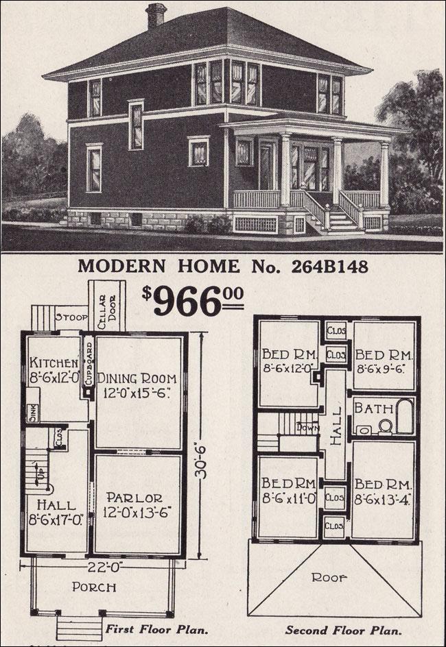 Clic Foursquare - Sears Modern Home No. 264B148 - Hipped ... on napa home designs, wright home designs, elite home designs, linear home designs,