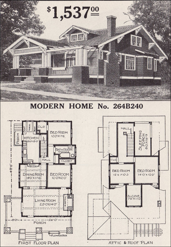 Sears craftsman style house modern home 264b240 the for Chicago style bungalow floor plans