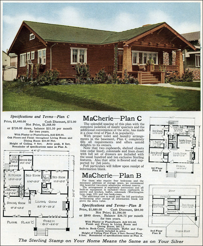 1916 Sterling Macherie House Plans Arts Amp Crafts