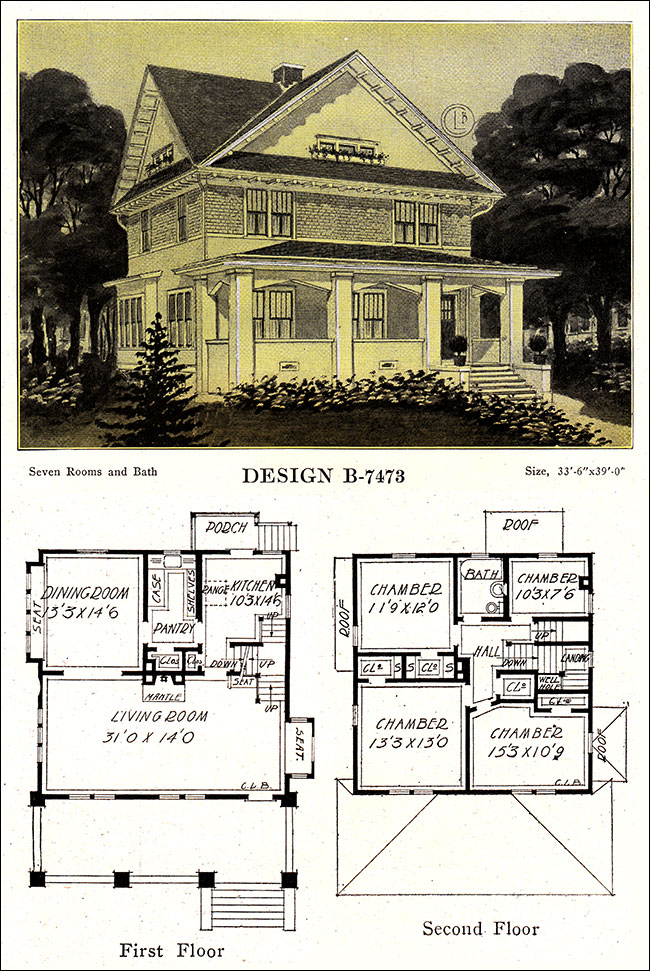 Artistic Foursquare With Cross Gabled Roof 1918