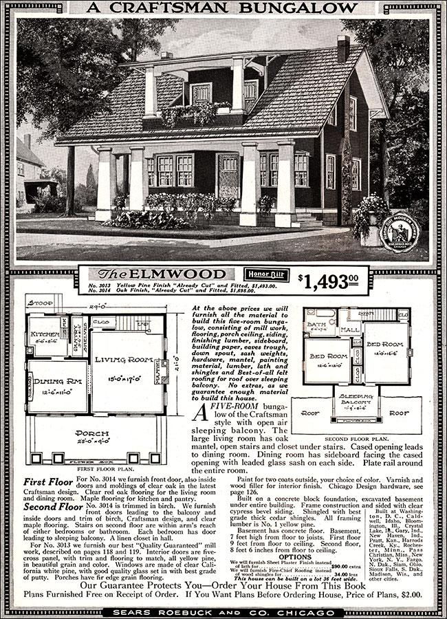 Elmwood 1918 Sears Kit Homes Honor Bilt Craftsman Bungalow